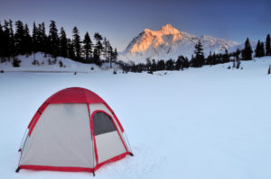 Tent and mt shuksan at sunset in winter